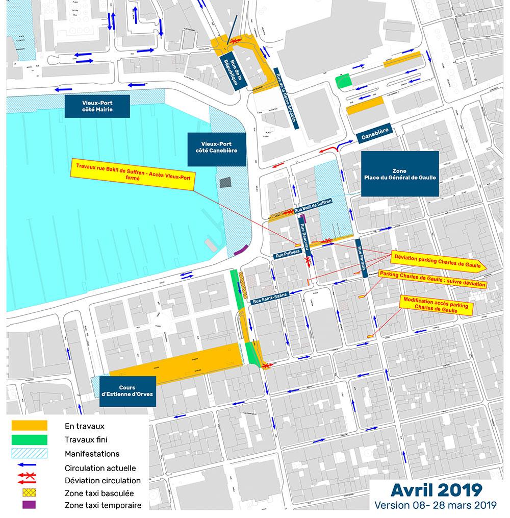 Avril 2019 - Plan phasage modification de la circulation en centre-ville Marseille