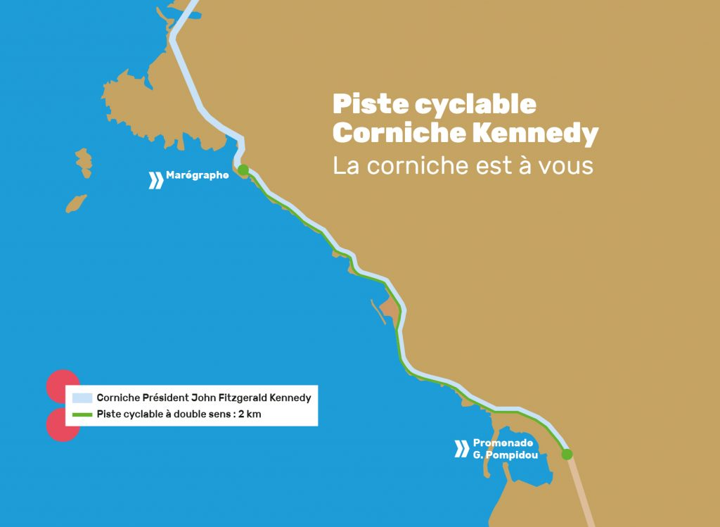 Plan de la piste cyclable Corniche Kennedy