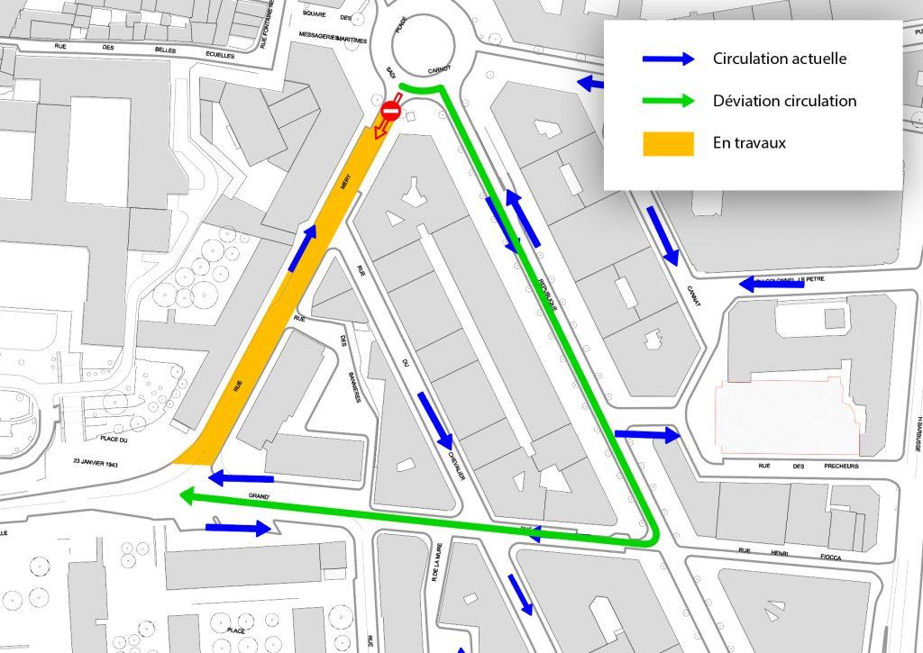 Carte déviation Rue Mery