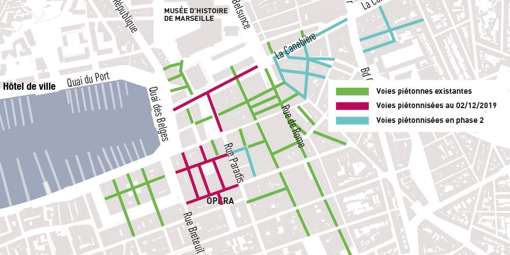 Plan des aires piétonnes dans le centre-ville de Marseille