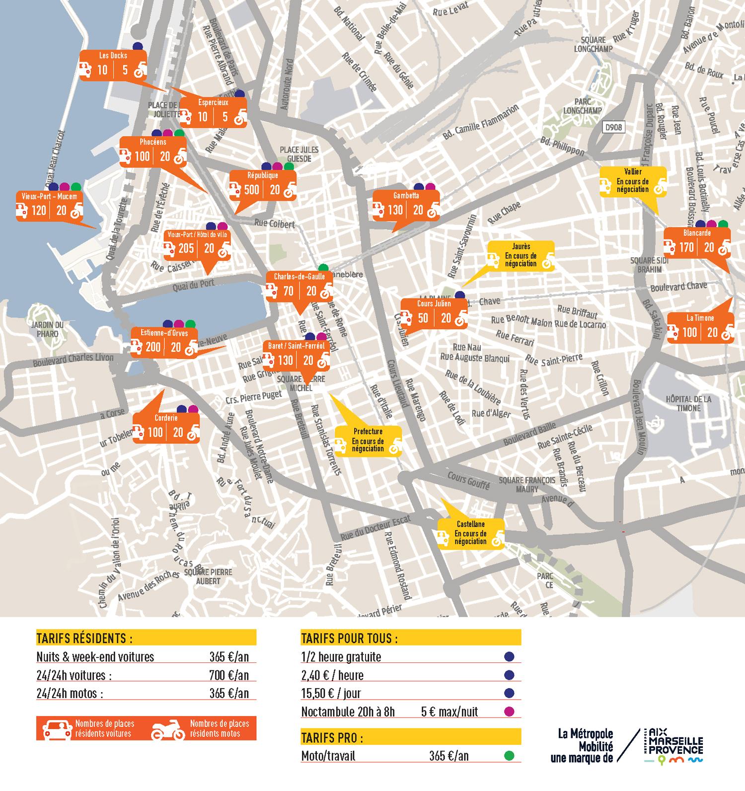 Plan parkings à Marseille avec tarifs