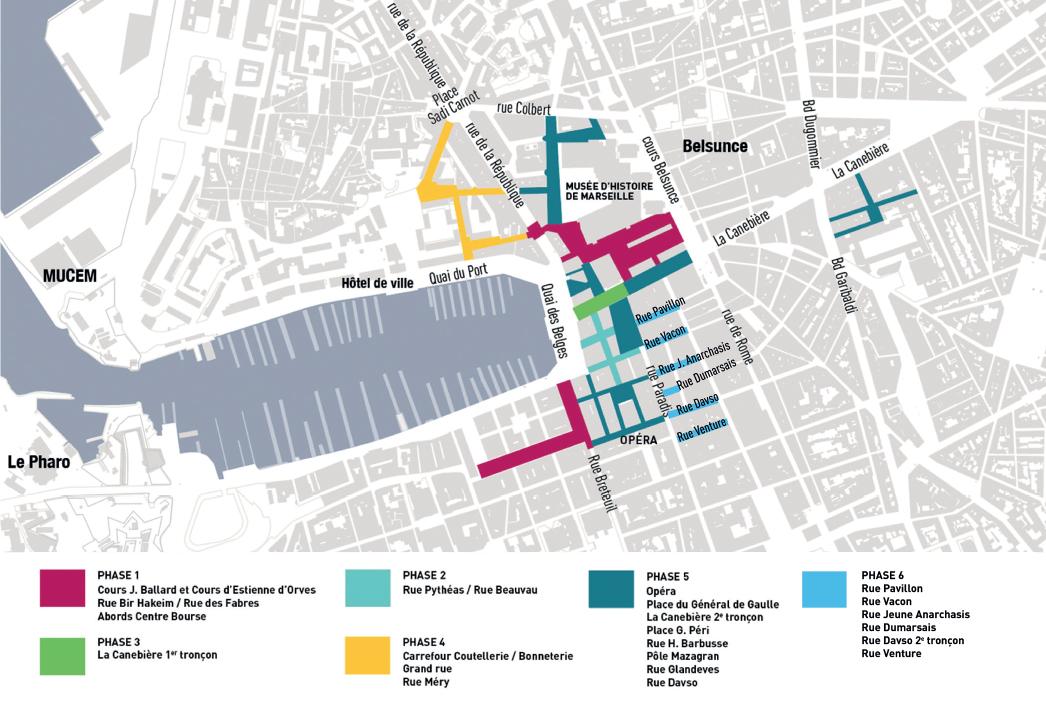 Carte phasage du chantier Marseille Change