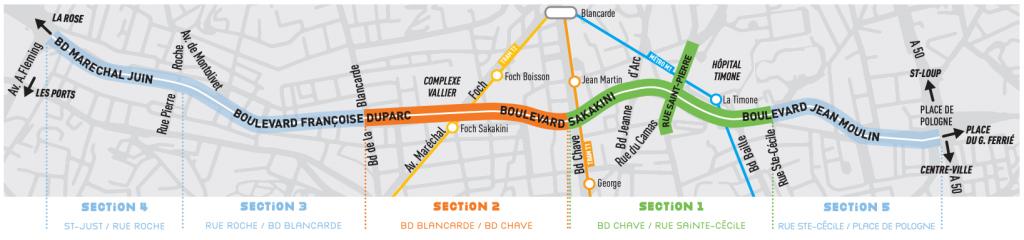 Plan des sections des travaux rocade du Jarret