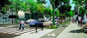 Vue 3D des travaux Rocade du Jarret, section 3 devant le pont ferroviaire