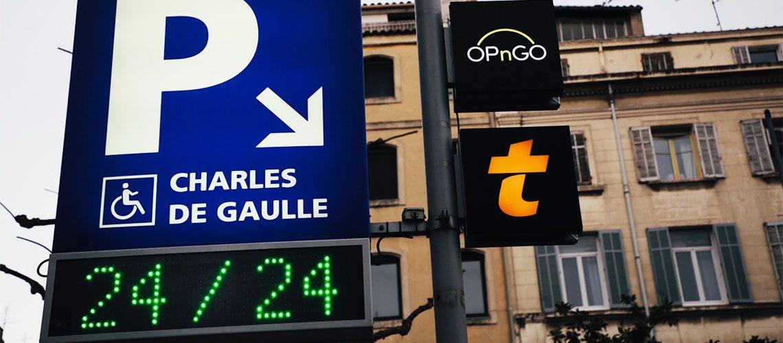 Entrée du parking Charles de Gaulle