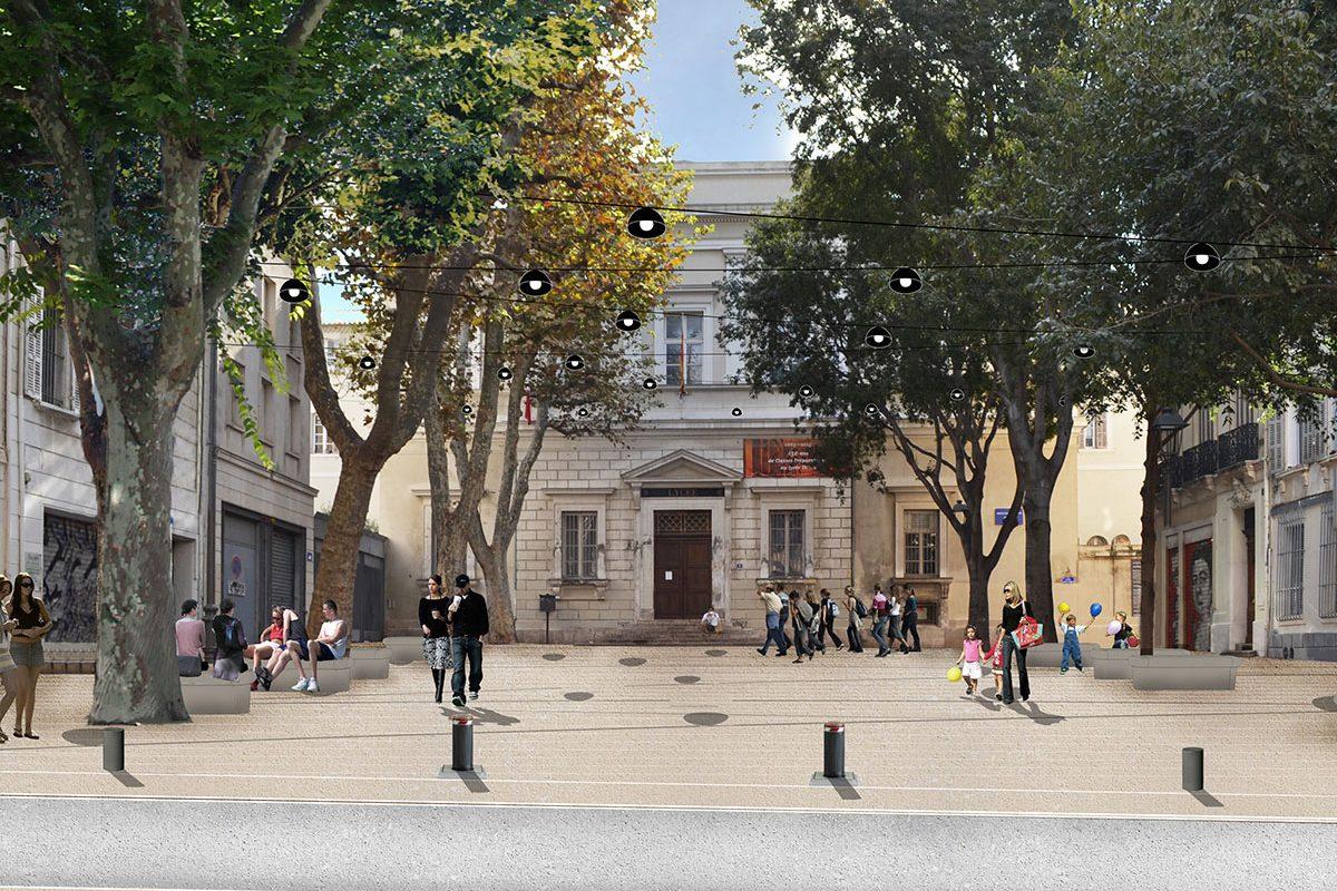 Place du Lycée Thiers depuis la rue Mazagran - Après